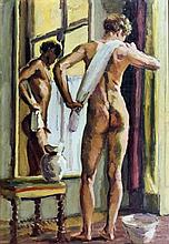 Style of Duncan Grant (1885-1978) - Oil painting- Study of nude male standi