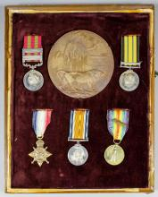 A group of five Victoria, Edward VII and George V medals to Lieut. (later Major) William Hurst-Nicolson, comprising - Victoria India Medal, with two bars,