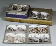 A boxed set of World War I Stereoscopic photographic cards -