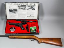 A Webley .22 caliber 1982 Hurricane air pistol in original box with paperwork, pellets, scope mount  and B.S.A 4 x 15 telescopic sight and a .177 caliber air rifle with break action and V sights, with 28ins barrel, Circa 1960