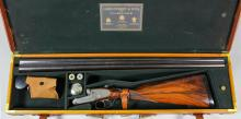 A good 12 bore sidelock ejector (self opening action) shotgun by James Purdey & Sons of London, Serial No. 19652, the 30ins blued barrels (replaced by maker in 1978) with plain top rib, bright steel action decorated with rose and scroll engraving and makers name, walnut stock and fore end and horn butt plate, 47.5ins overall, with manufacturers leather and oak motor case and some accessories, (with history from Purdey) <br>Note: You must be in possession of a current shotgun certificate in order to purchase this item