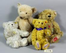 A blonde mohair Steiff teddy bear (2002 Centenary) with growler, 17ins, together with three others Steiff bears, various
