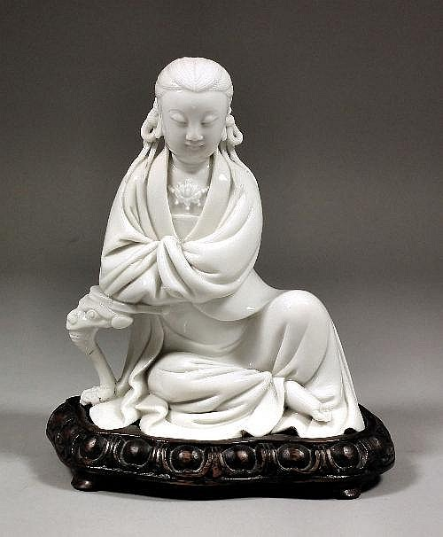 A Chinese porcelain blanc-de-chine figure of a