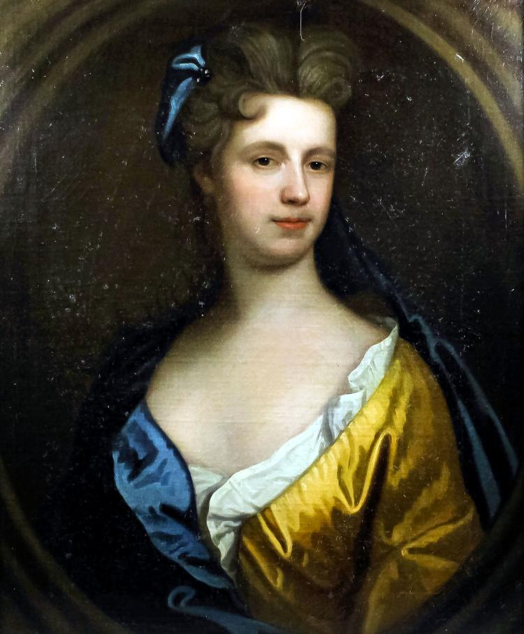 17th/18th Century English School - Oil painting - Shoulder length portrait of a young woman wearing a yellow silk dress, relined canvas 30ins x 24.5ins, in gilt moulded frame