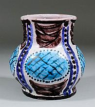 Vanessa Bell (1879-1961) - A lead glazed pottery vase painted in shades of blue and maganese with an