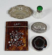 A George V silver and tortoise-shell lidded