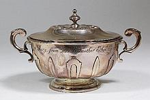 A Victorian silver circular two-handled porringer