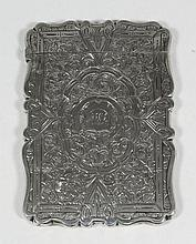 A Victorian silver rectangular card case of shaped