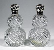 A pair of Victorian silver topped double gourd
