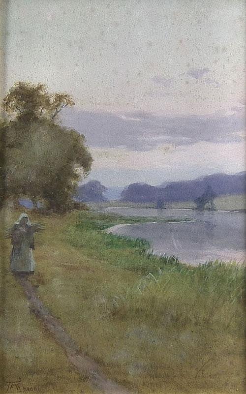 T.F.M. Sheard (1866-1921) - Watercolour - river