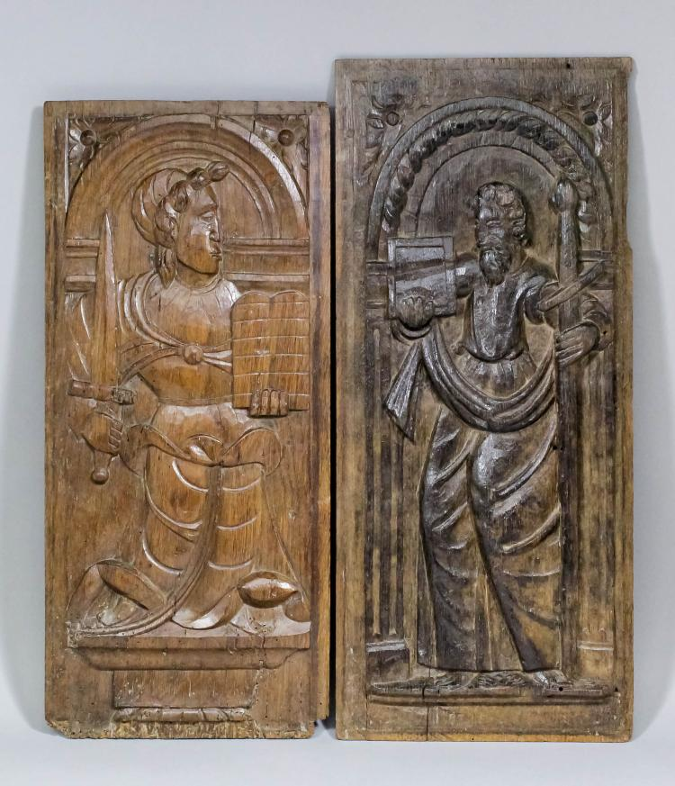 A late th century french mannerist relief carved oak panel