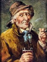 F. Fuchs (19th Century) - Oil painting - Shoulder length portrait of an elderly man smoking a pipe, panel 6.5ins x 4.75ins, signed to top left, in gild moulded frame, and Dutch School - Oil painting - Interior of an inn with figures drinking and smoking pipes in the manner of Adriaen Van Ostade, board 8ins x 6.5ins, in gilt moulded frame