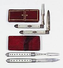 A Georgian silver bladed and mother of pearl