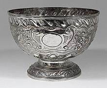 An Edward VII silver circular punch or rose bowl