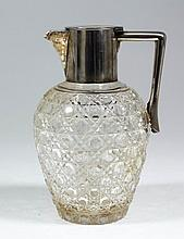 An Edward VII silver mounted and hobnail cut-glass