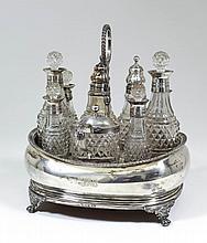 A George III silver rectangular nine division