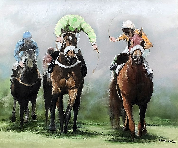 Brian Lewis (20th Century) - Pastel - Horseracing scene, 19.75ins x 23.5ins, signed, in gilt moulded