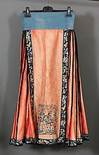 Two Chinese Han embroidered silk skirts worked in