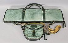 A good quality Ostrich leather gun bag with green