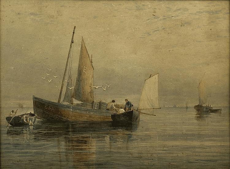 S.G.W. Roscoe (1852-1922) - Watercolour - Fishing