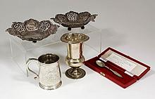 A late Victorian silver christening mug engraved