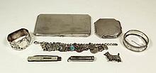 A George V silver octagonal cigarette box, 6.25ins
