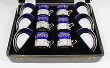 A set of six George VI silver mounted Coalport
