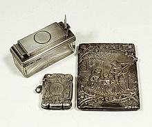 A late Victorian silver rectangular card case