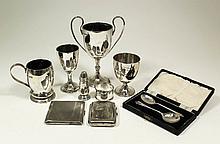 A George V silver baluster shaped christening mug