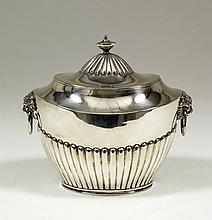 A Victorian silver two-handled lidded tea caddy