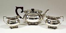 A George V silver rectangular three piece tea