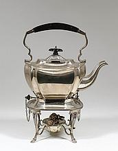 A George V silver rectangular tea kettle on stand