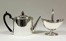 A George III silver two piece part tea service of