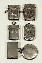 A George V silver vesta case with bands of
