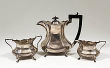 An Edward VIII silver oval three piece part tea