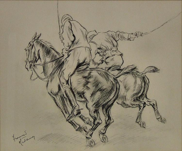 Franco Matania (1922-2006) - Charcoal drawing -