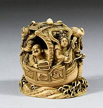A good Japanese carved ivory okimono with seven