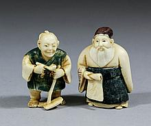 Two Japanese carved and painted ivory netsukes -