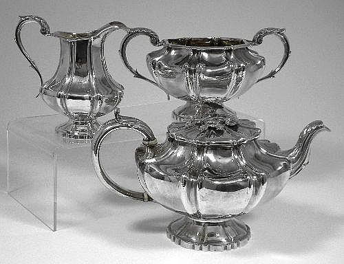 An early Victorian silver three piece tea service