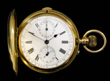 A good late 19th /early 20th Century gentleman's 18ct gold full hunting cased keyless lever pocket and stop watch by Hamilton & Co, Calcutta, No. 43138, the white enamel dial with Roman numerals and with subsidiary seconds dial and 30 minute stop watch dial and with sweep seconds hand to a 5th of a second, contained in plain case, 52mm diameter (gross weight 120 grammes) <br>