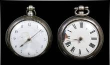 A Victorian silver pair cased verge pocket watch by W.J Thompson of Ashford, No. S.1627