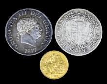An Edward VII 1908 Half Sovereign (fair/fine), a George III 1817 Half Crown (fine), and a Victoria 1896 Half Crown (worn), and a black vinyl covered album containing a selection of mostly modern coins