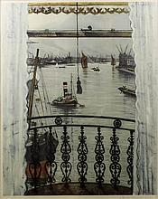 ***Christopher Richard Wynne Nevinson (1889-1946) - Colour lithograph - View across the Thames from a bedroom window with balcony, 19.5ins x 16ins, signed in pencil, with Fine Art Society blindstamp, framed and glazed
