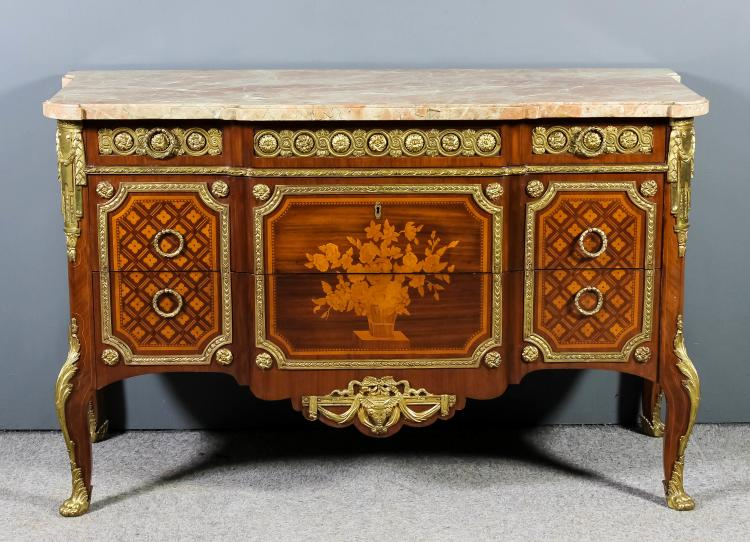 A 20th century french walnut marquetry and gilt brass mount for French furniture designers 20th century