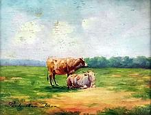Imre Perlmutter (1866-1932) - Two oil paintings - Cattle in a landscape, panel 4.25ins x 5.5ins, and lady with bags and handcart, panel 5.5ins x 4.5ins, both signed, in gilt moulded frames and glazed