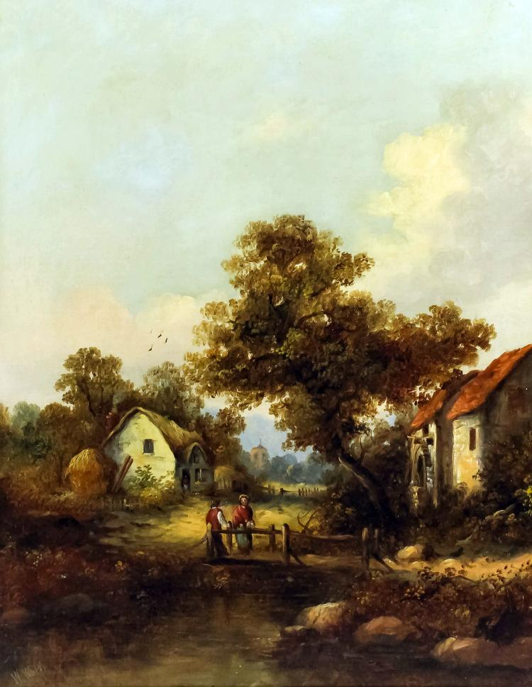 W webb 19th century pair of oil paintings rural landsc for Oil paintings of houses