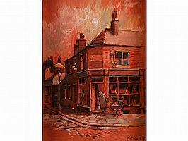 TOM BROWN PASTEL DRAWING 'Corner Shop' Junction of