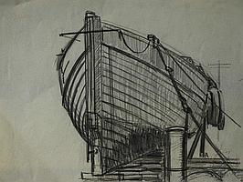 MARJORIE MORT PENCIL DRAWING Boat on slip way 9