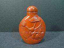 ANTIQUE CHINESE RED AGATE NANHONG SNUFF BOTTLE
