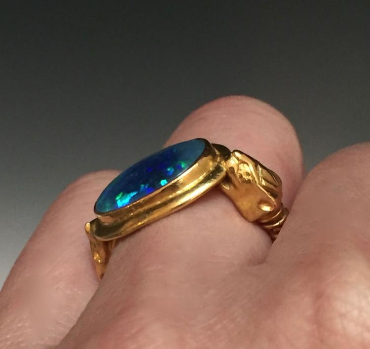 22karat yellow gold and black opal doublet ring